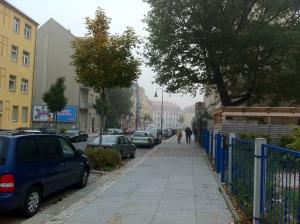 Nebel auf der Wurzener Straße in Dresden.