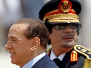Gaddafi & Berlusconi - zwei die sich mögen und zusammenhalten.